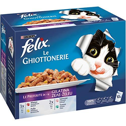 Purina Felix Le Ghiottonerie Umido Gatto Le Preferite con Manzo/Pollo/Salmone e con Tonno, 60 Buste...