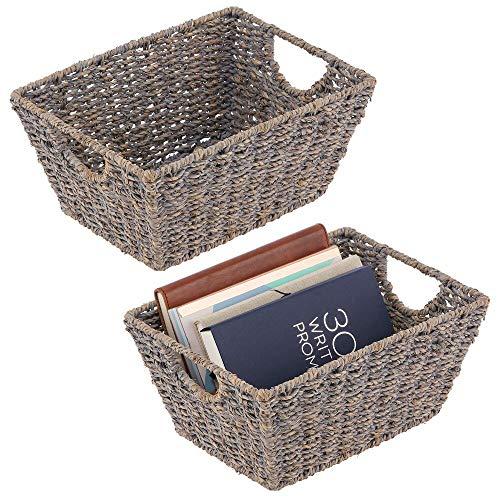 mDesign Juego de 2 cestas de almacenaje con asas – Organizador plegable para dormitorio, salón, baño o pasillo – Cestas organizadoras de junco marino para guardar accesorios del hogar – gris