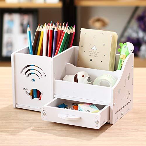 Multi-funktions Stifthalter, Kreativstift veranstalter student süße schreibwaren schreibtisch organizer büro stift bleistift halterschale-weißer Elefant 22x11x12cm(9x4x5inch)