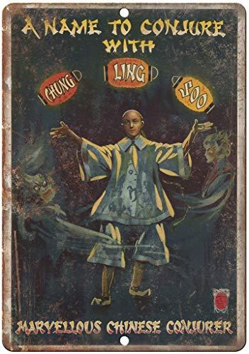 a Name to Conjure Chung Ling Soo Magic Blechschild Retro Blech Metall Schilder Poster Deko Vintage Kunst Türschilder Schild Warnung Hof Garten Cafe Toilette Club Geschenk