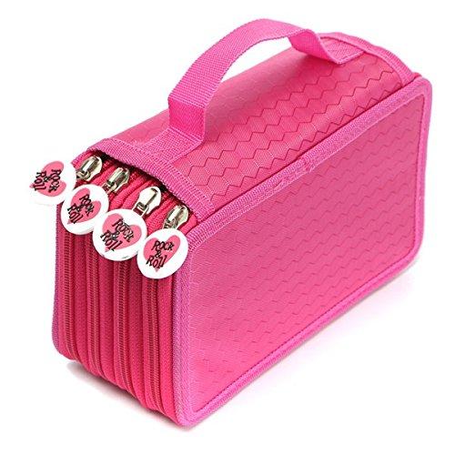 Tutoy 72 Trous 4 Couches Stylet Crayon Sac De Poche Stationnaire Travel Cosmetic Brush Sac De Rangement pour Maquillage -Rose Red