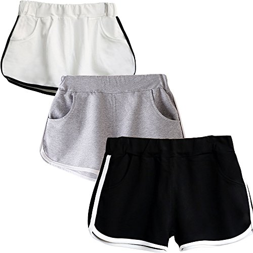 Beauty_yoyo Teen Girls Running Shorts Gym Workout Yoga Sport Performance Short (Pack of 3)