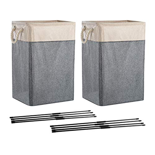 HOSEN Laundry Baskets with Handles 2 Pack Collapsible Linen Laundry Hamper Built-in Lining with Detachable Brackets for Bedroom Bedroom Toys Clothing Organization GrayBeige