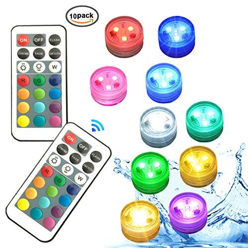 Unterwasser Licht,RGB Multi Farbwechsel wasserdichte LED-Leuchten für Vase Base Party,Weihnachten,Schwimmbad,Weihnachten,inklusive C2450 Batterien - 10 Stück Kürbis Lichter für Halloween