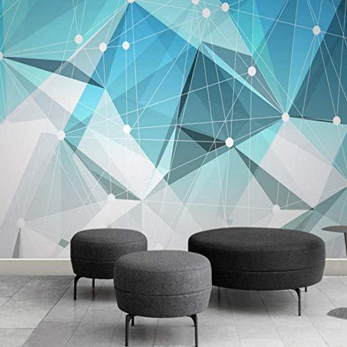 Pbbzl Modern 3D-behang, abstracte vaste geometrisch blauw behang, voor de woonkamer, geometrische wandafbeeldingen 250x175cm