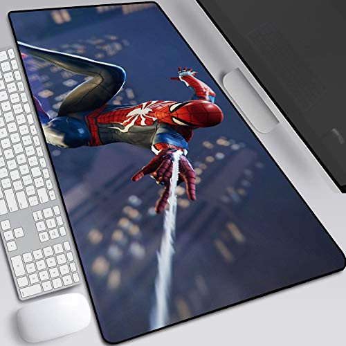 Marvel Iron Man Spider-Man Mouse Pad, Gaming Anime Extended Keyboard Table Mat, Non-Slip Rubber Base, High Sensitivity and Stable Adsorption (Color : D, Size : 400X900X3mm)