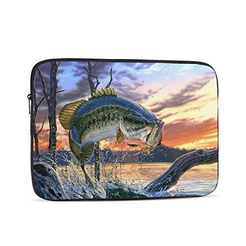 Tablet Travel Cover,Fishing Bass Mouth Laptop Sleeve Bag Compatible with 10-17 Inch Netbook/Laptop 15 Inch