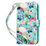ULAK Wallet Case Compatible with iPhone 12/12 Pro Flip Case with Card Holder PU Leather+TPU Cover Hand Strap Stand Shockproof Protective Case Compatible with iPhone 12/iPhone 12 Pro 6.1 inch, Flower
