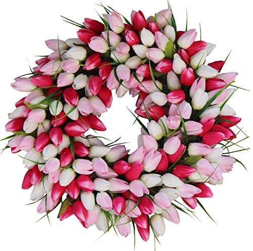 The Wreath Depot Pink and White Tulip Front Door Wreath, 19 Inch, Stunning Silk Front Door Wreath,...
