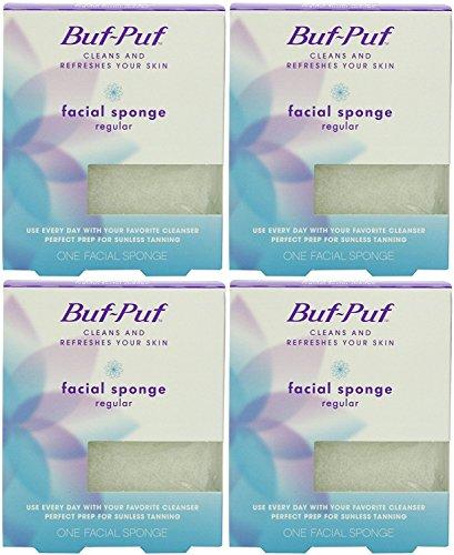 Buf-Puf Reusable Facial Sponge, Regular, 4 Count
