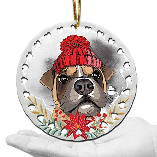 BELLA BUSTA-Dog Christmas Ornament-Dog Lover Gifts-Ceramic Hearts Christmas Tree Ornament-UV Print GOG Face with Christmas Hat (Boxer)