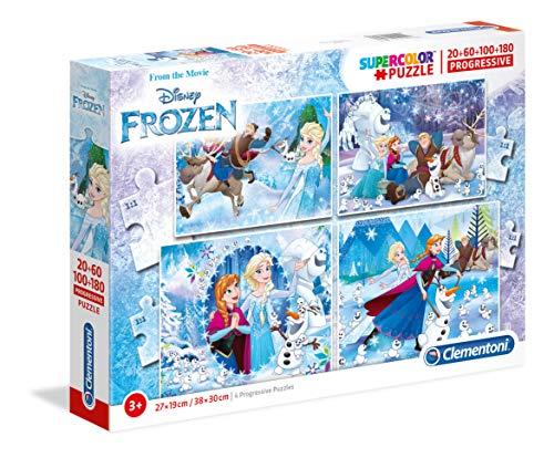 Clementoni 07723 07723-Supercolor - Frozen - 20 + 60 + 80 + 180 stuks, meerkleurig