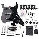 Gaocunh Kit completo de guitarra eléctrica DIY Kit de accesorios para guitarra eléctrica, kit de accesorios estilo ST, incluye pastillas de puente y otros accesorios, color negro