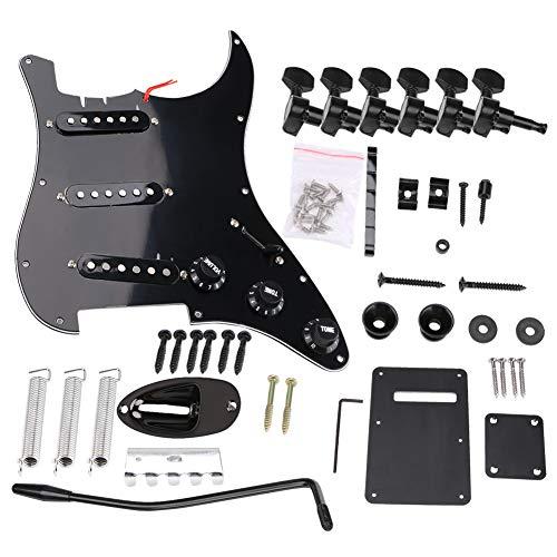 Gaocunh DIY E-Gitarren-Set, E-Gitarre, komplettes Set, DIY-Zubehör-Kit, ST-Stil, inkl. vorverdrahtetem Pickguard, Steg-Tonabnehmer und anderem Zubehör, Schwarz