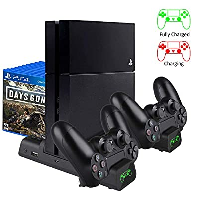 KINGTOP Vertical Cooling Fan Cooler Stand for PS4/PS4 Slim/PS4 Pro, Controller Charger with LED Indicators Charging Dock Station with 10PCS Games Storage