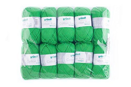 Gründl Cotton Fun Wolle, Baumwolle, froschgrün, 27 x 11 x 7 cm