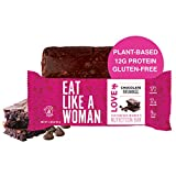 Eat Like A Woman, Plant Based Protein Bar, Gluten Free Bars w/Almond Butter, Organic Ingredients, Paleo Friendly, Soy Free, Dairy Free, Cacao Chocolate Brownie, 12 Pack