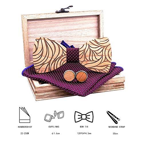 LYY Gemusterte Holz Fliege Set mit Holz Box 2 Manschettenknöpfe und quadratischer Schal, justierbare Gummiband, Mens-Jungen-Smoking Hochzeit