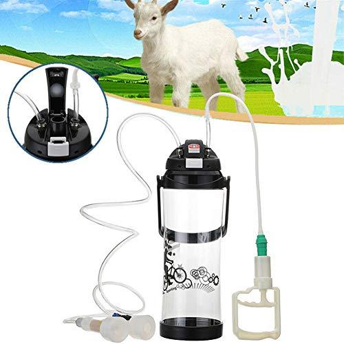 pnxq88 Kit de ordeñadora de 3L, ordeñadora Manual de Cabra de Vaca, máquina lechera portátil de Doble Cabeza