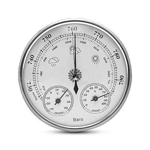 wolketon Wetterstation analog für innen und außen Feuchte Temperaturüberwachung, bestehend aus Barometer, Hygrometer Thermometer, für Familienzimmer Gewächshäuser Babyzimmer Krankenhäuser
