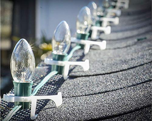 Halo Clips-Ranked No.1 Outdoor Lighting Clip by Amazon! Dual Purpose Gutter & Shingle Quality Clips with UV Protection for C7 C9 Bulbs - Easy Install - Good for Everyday Use- Made in USA!