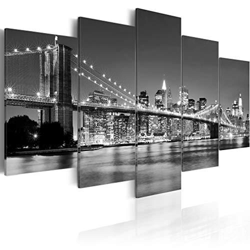 decomonkey Bilder New York 225x100 cm 5 Teilig Leinwandbilder Bild auf Leinwand Wandbild Kunstdruck Wanddeko Wand Wohnzimmer Wanddekoration Deko Stadt City Architektur