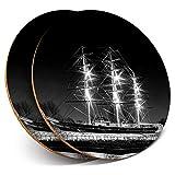 Posavasos redondos de vinilo de Destination Ltd (juego de 2) BW – Cutty Sark velero barco bebida/protección de mesa para cualquier tipo de mesa #39030