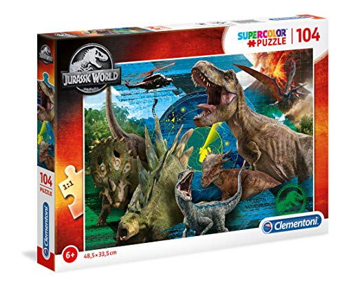 Clementoni - 27196 - Supercolor Puzzle - Jurassic World - 104 Pezzi - Made In Italy -...