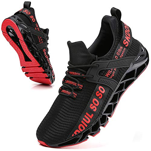 SKDOIUL Black red Shoes for Men mesh Breathable Comfort Fashion Sport Athletic Running Walking Sneakers Runner Jogging Shoes Casual Tennis Trainers Size 8.5