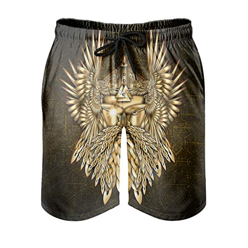 Pantalones cortos para hombre Viking Odin dorados, sueltos, pantalones cortos