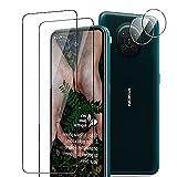 TUTUO Cristal Templado Compatible con Nokia X10 5G, [2+2 Pack] Protector de Pantalla + Protector de Lente de cámara, Antiarañazos, Sin Burbujas, 9H Dureza HD Film Vidrio Templado
