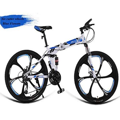 RPOLY Bicicleta de Montaña Plegable, 21 Velocidad Bici Plegable, Choque Dual del Freno de Disco, Adulto Fuera de la Carretera de Velocidad Variable Bicicleta,Blue_24 Inch
