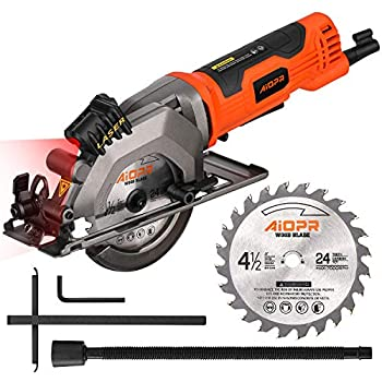 AIOPR 4Amp 4-1/2  Mini Circular Saw with Laser Guide 24T TCT Blade  76602L