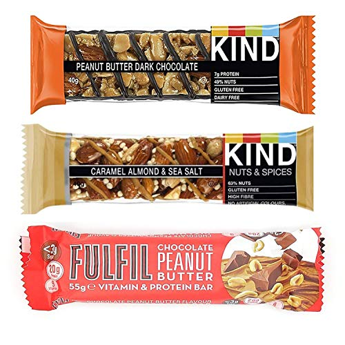 KIT Protein Bar, Kind Peanut Butter and Dark Chocolate 40g, Fulfil Chocolate Peanut Butter 55g, Kind Caramel 40g, Always Tasty and Nutritious