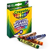Crayola Ultra Clean Washable Crayons, Large Crayons, 16Count, Multi-color, Large Size (52-3281)