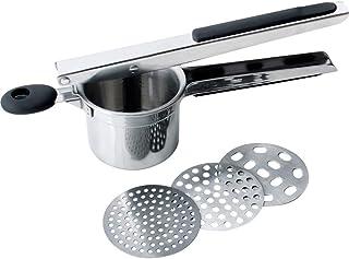 Vetrineinrete/® Schiacciapatate pressa in Acciaio Inox con Manico a Leva Removibile con Fori Laterali schiaccia Patate
