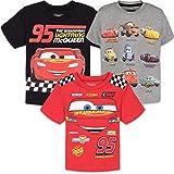 Disney Pixar Cars Lightning McQueen Toddler Boys T-Shirts 3 Pack Short Sleeve 5T