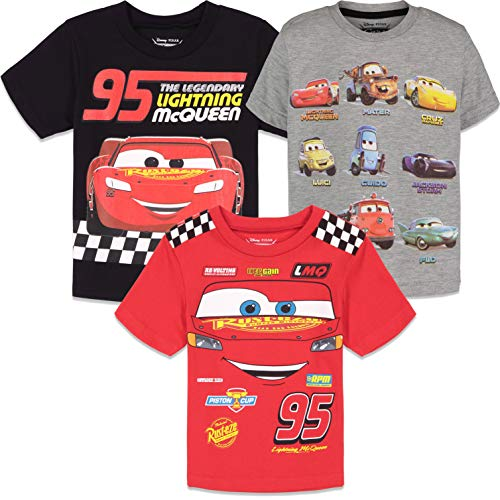 Disney Lightning McQueen Toddler Boys 3 Pack Short Sleeve T-Shirts Cars 5T