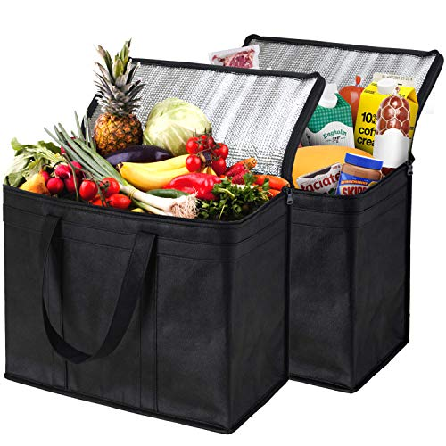 NZ Home XL Insulated Shopping Bags for Groceries Sturdy Zipper Foldable Washable Heavy Duty Stands Upright Completely Reinforced Bottom amp Handles 2 Pack Black