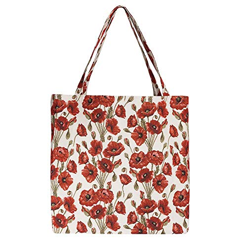 Signare Tapisserie tasche damen, einkaufstasche faltbar, einkaufstasche shopper damen groß mit Blumenmustern (Mohn)