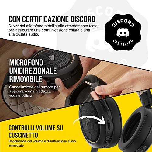 Corsair HS70 PRO Wireless Cuffie Gaming con Microfono, Audio 7.1 Surround, Wireless 2,4GHz a Bassa Latenza, 12 metri di Portata, Cancellazione del Rumore Microfono con PC, PS4 Compatibilità, Cream
