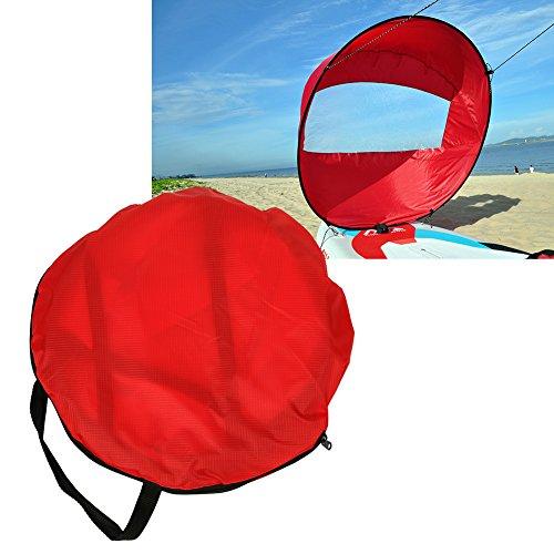 MAGT Rote Schlauchboot Kajak, 3 Farben Tragbares Outdoor-Kajaksegel Downwind-Segel Kompaktes Kajak Clear Wind Sail Paddel Kajak-Zubehör für Schlauchboote Kajaks Kanus(rot)