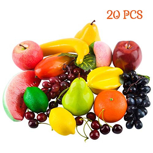 Toopify 20 Pcs Artificial Fruits Assorted Fake Fruit Lifelike Realistic Decor