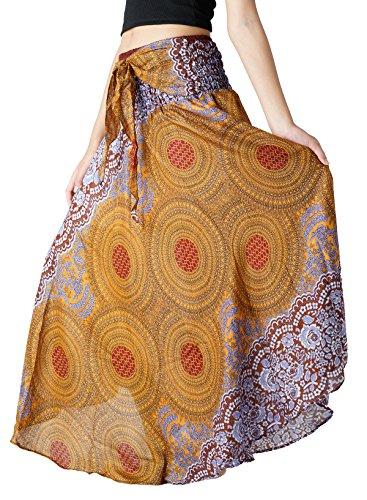 B BANGKOK PANTS Women's Boho Maxi Skirt Bohemian Print (Brown Floral, One Size)