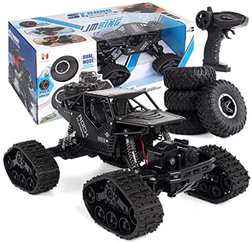 Zhangl 2-in-1 4WD RC Car, 1:16 Remote Control Tracked Vehicle 2.4Ghz Radio Remote Control Off Road Cars, Anti-Skid Outdoor Indoor Crawler Type Snow/Sand Toy Car, Perfect for Kids (Red)
