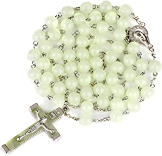 Glow in The Dark Rosary Necklace- Luminous Catholic Round Beads Religious Jesus Crucifix for Hanging Pray Rosaries Necklac...
