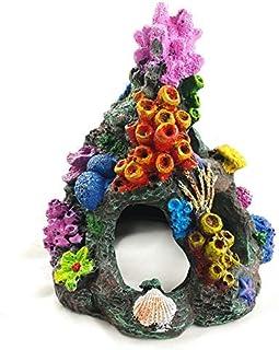 EHC Aquarium Decoration Environments Cave Living Reef Fish Tank Resin Coral Aquarium Ornaments Fish Hide-Away Mountain Ret...
