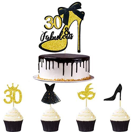 33pcs Oro negro Glitter 30 & Fabulous Torta de cumpleaños Treinta y fabuloso Cake Topper Cupcake Toppers Kits para mujeres Feliz 30 cumpleaños Celebración Aniversario Decoración de la torta