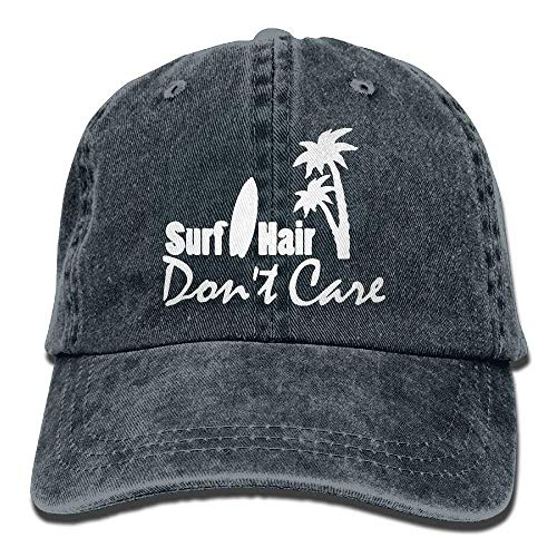Hoswee Unisexo Gorras de béisbol/Sombrero, 2018 Adult Fashion Cotton Denim Baseball Cap Surf Hair Don't Care-1 Classic Dad Hat Adjustable Plain Cap