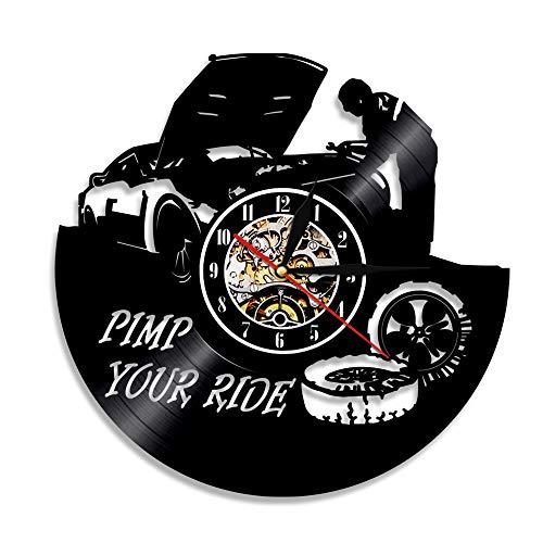30cm Mecánico Servicio de automóvil Reloj de pared Diseño moderno Camión Conducir Disco de vinilo Pimp Your Ride Reloj colgante Etiqueta de reparación de llantas con 7 colores Cambiar Amigo Regalos